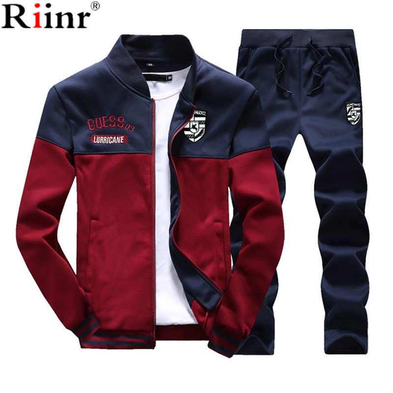 Riinr nuevos conjuntos de hombres moda Otoño primavera traje deportivo sudadera + pantalones de chándal ropa para hombre 2 piezas conjuntos chándal Delgado