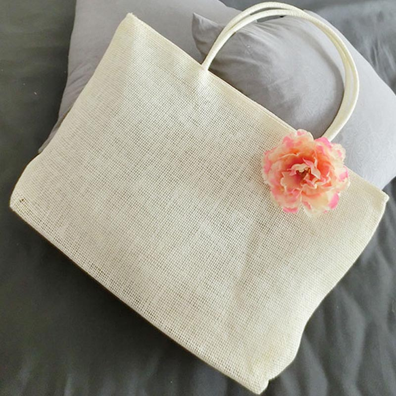 De punto bolsa de Paja de Verano de Bohemia de la flor bolsos de las mujeres de