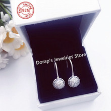 Perfect  Charms logo Engraved Silver S925 ALES PANDORAS Earrings Dazzling Droplets Ear stud for women jewelries Clear