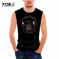 FORUDESIGNS Cool Pug Dog Printing Men Tank Tops Summer Sleeveless Fitness Top Shirts For Man Brand