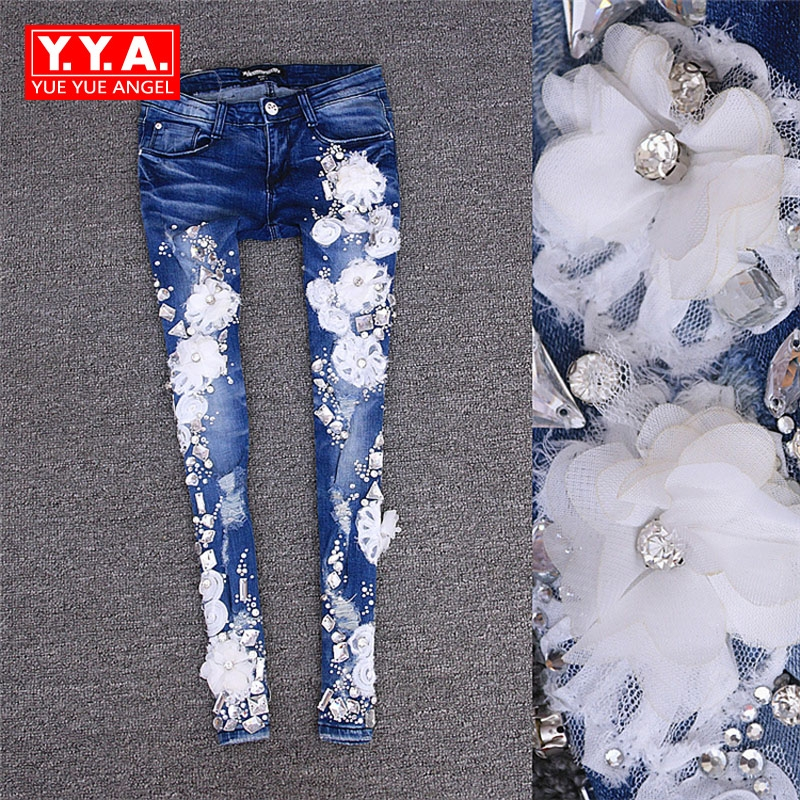 Summer Disk Flowers Rhinestone Jeans Hole Tight Elastic Pants Pencil Jeans Pants Slim Fit Fashion Washed Personalized Trousers 2017 new designer korea men s jeans slim fit classic denim jeans pants straight trousers leg blue big size 30 34