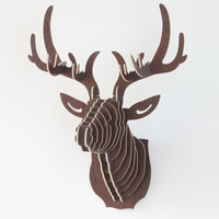 3D BUCKY wood Deer head for home decor