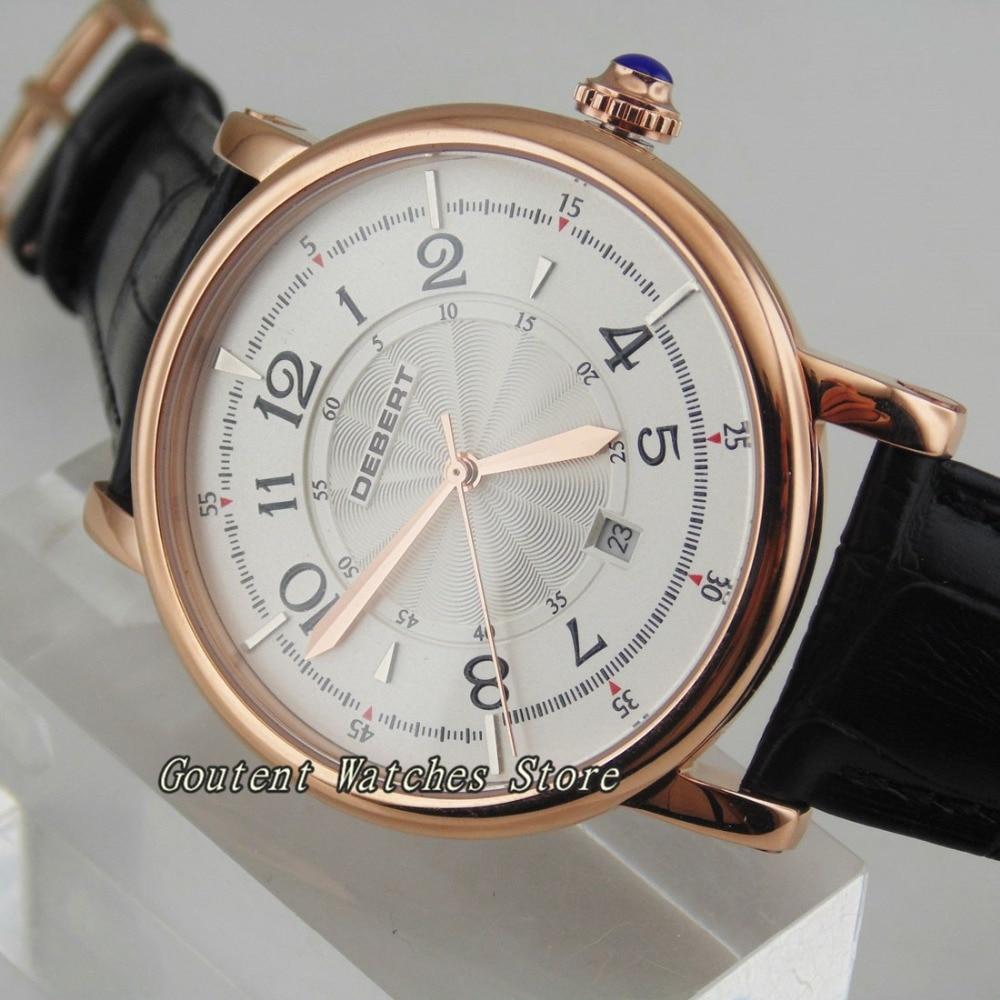 44mm Debert Date Automatic Black Leather Strap Mechanical Men's Watch