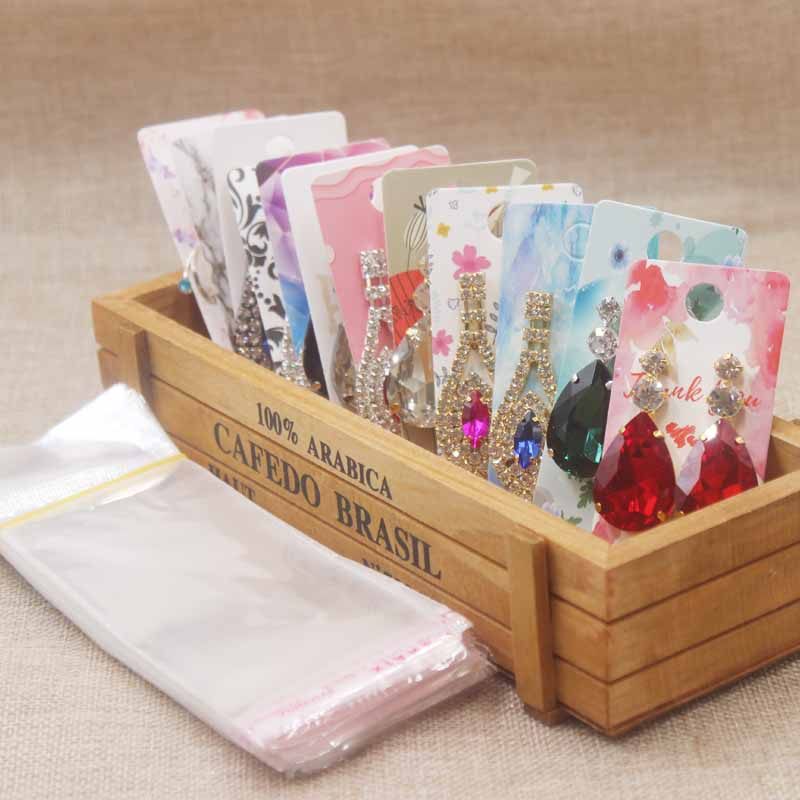 25card+25opp Bags Earring Cards 2019New Arrived Fashion Design Kraft Paperboard Jewelry Display Price Tag Popular Style  4cm*9cm