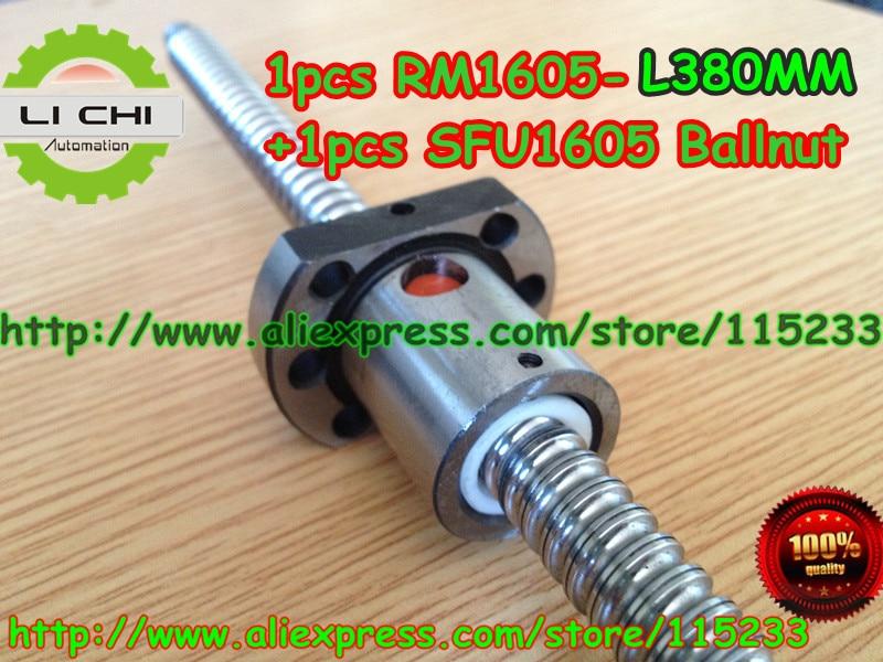 ФОТО Free Shipping 1pcs Ball screw SFU1605 - L380mm+ 1pcs RM1605  Ballscrew Ballnut for CNC and BK/BF12 standard processing