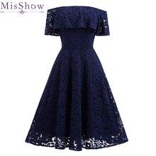 Женские Коктейльные Вечерние платья сексуальные кружевные трапециевидные короткие темно-синие коктейльные платья с открытыми плечами короткие платья для особых случаев
