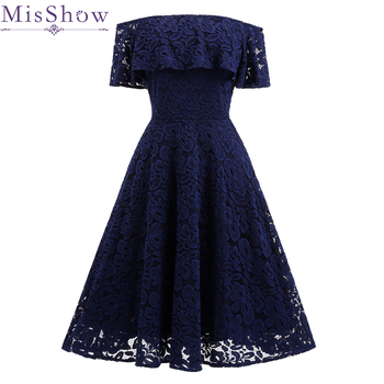 Women Cocktail Party Dress 2019 Sexy Lace A-Line Short Navy Blue Off Shoulder Dresses Special Occasion