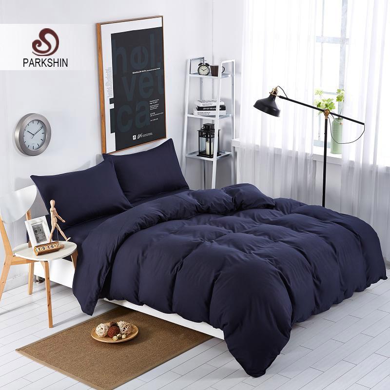 Parkshin Dark Blue Luxury Bedding Set Linens Nordic Comforter Duvet Cover Bedspread Adult Double Bed Sheet Queen King Bedclothes