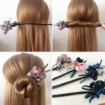 Women Flower Donut Bun Maker Big Pearls Ribbon