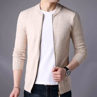 Men Sweater Fashion New Autumn Mens Cashmere Cardigan Zipper Sweatercoat Male Knitwear Stand Collar Sweater Coat