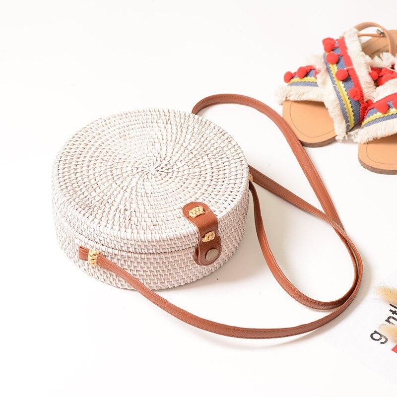 Women Summer Rattan Bag Round Straw Handmade Bags Half Woven Beach Cross Body Circle Bohemia Handbag bolsa feminina