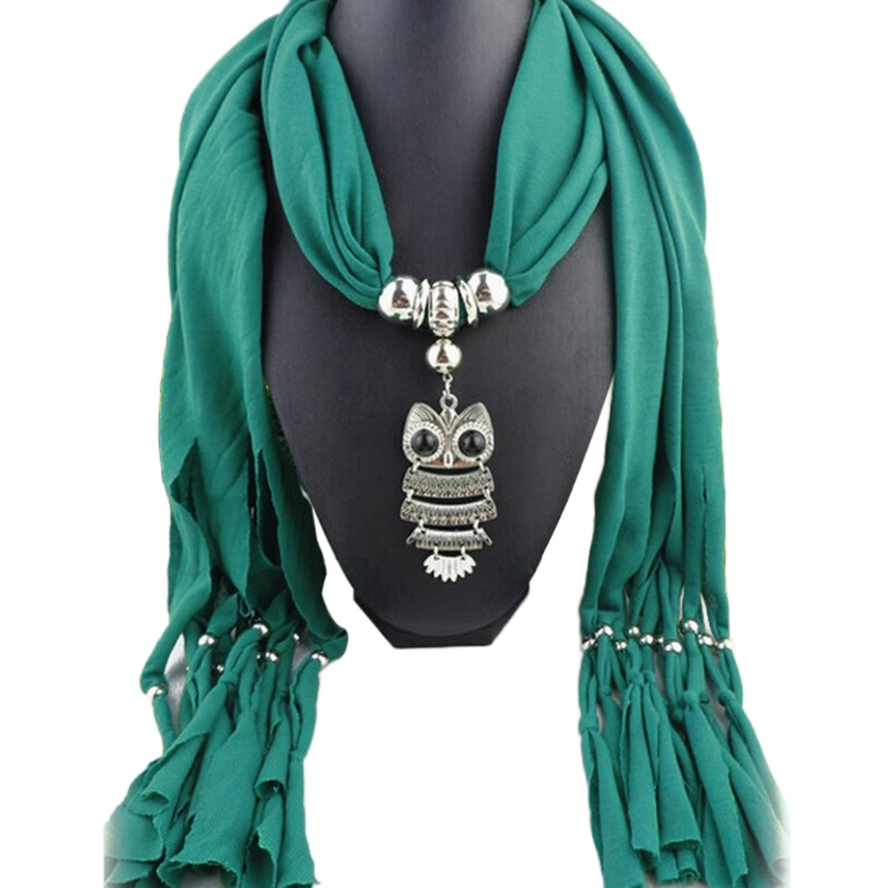 FZ 24BC Womens Necklace   Scarf   Owl Pendant Tassels   Wrap   Shawl With Vintage Charm Elegant Fashion Soft Long Lady   Scarf