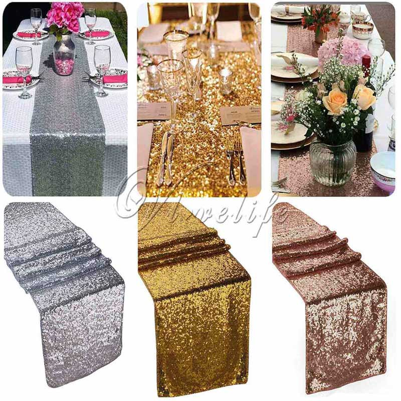 10PCS lot 12 x108 Gold Silver Champange Sequin Fabric Table Runner Sparkly Bling for Wedding Party