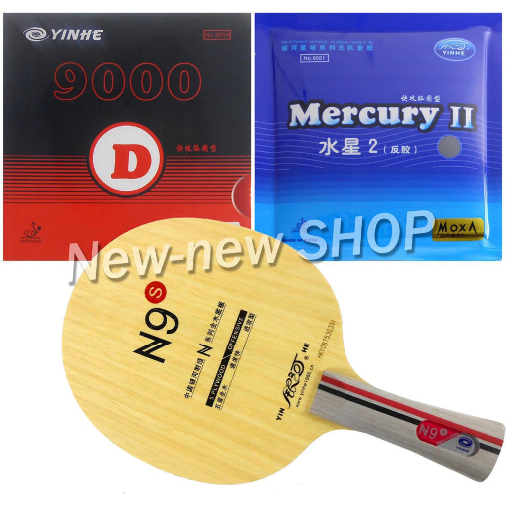 Galaxy YINHE N9s Blade With Galaxy YINHE 9000D and Mercury II Rubbers for a Table Tennis Racket Long Shakehand FL galaxy yinhe t8s blade ktl rapid speed and blackpower rubber with sponge for a table tennis racket long shakehand fl