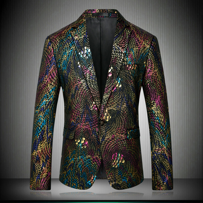 2018 Slim Fit Fancy Blazers For Men Peacock Floral Design Stage Costumes For Singers Prom Blazers Mens Paisley Suit Jacket 8679