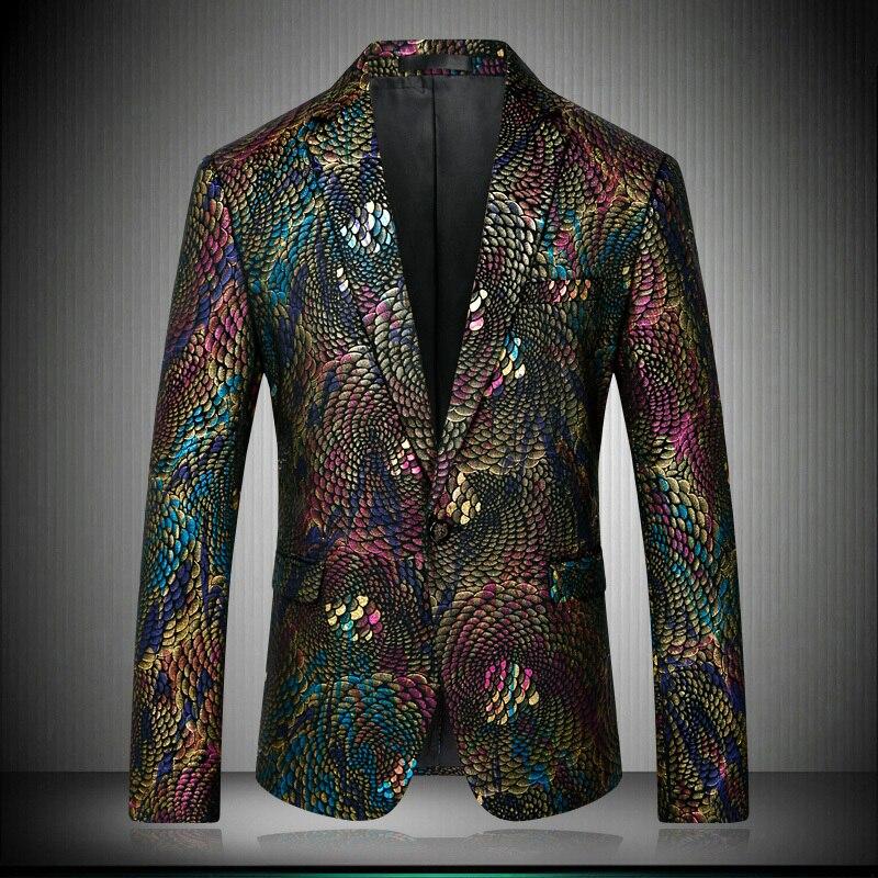 2018 Slim Fit Phantasie Blazer Für Männer Pfau Floral Design Bühne Kostüme Für Sänger Prom Blazer Herren Paisley Anzug Jacke 8679 GroßE Vielfalt