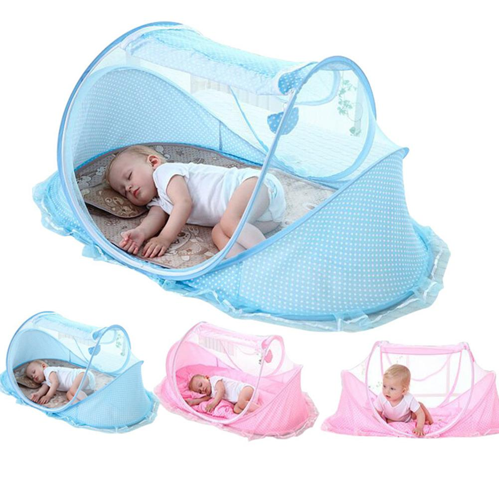 Blue quysvnvqt Portable Baby Crib Folding Mosquito Net Infant Removable Travel Mosquito Net Bed for Home Use