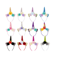 Nishine 10pcs/lot Handmade Kids Party Unicorn Horn Headband Leaf Flower Hair Band Girls Headwear Birthday Gift Hair Accessories 2017 new 10pcs lot beach hair accessories kids flower headband bohemian style wreath garland girls birthday party hairband