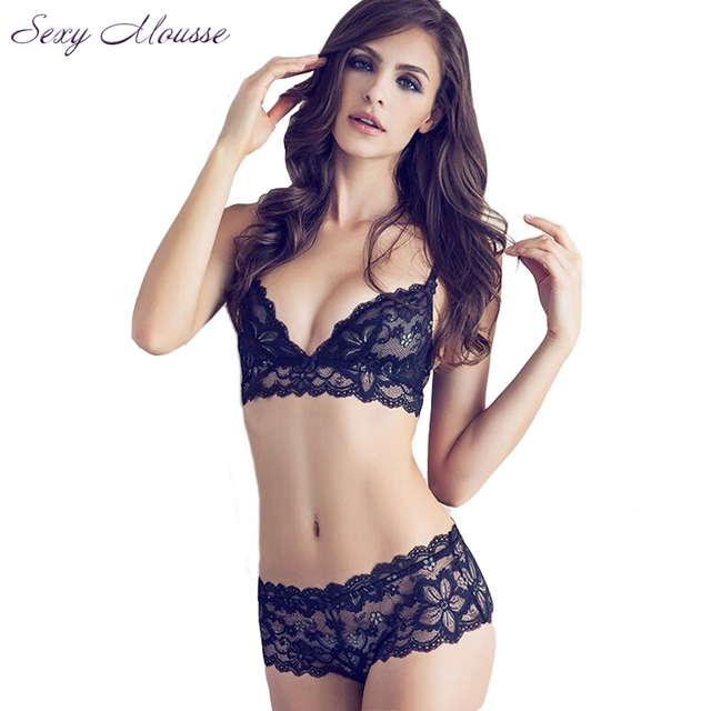 Sexy Mousse Deep V Women's Sexy Bra Set Lace Underwear Sets Soft  Black  Bra Briefs Set Underwear Brassiere Female Underwear Set