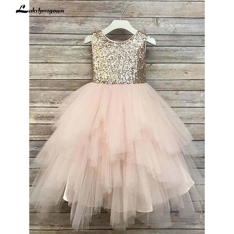 Cute A Line Round Neck Sequins Pink Tulle   Flower     Girl     Dresses   with Bow Under 100