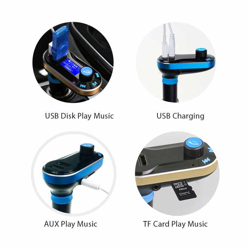 Vanjew BT66 FM Transmitter Modulator Bluetooth Cuộc Gọi Rảnh Tay Âm Thanh Xe Hơi Máy Nghe Nhạc MP3 với Daul USB Charger AUX Card SD Flash đĩa