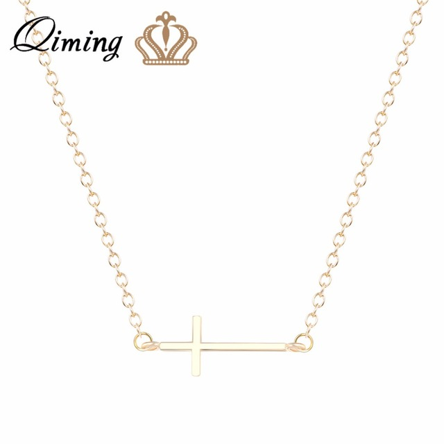 Qiming Silver Christian Cross Necklaces Gold Jewelry Charm Pendant