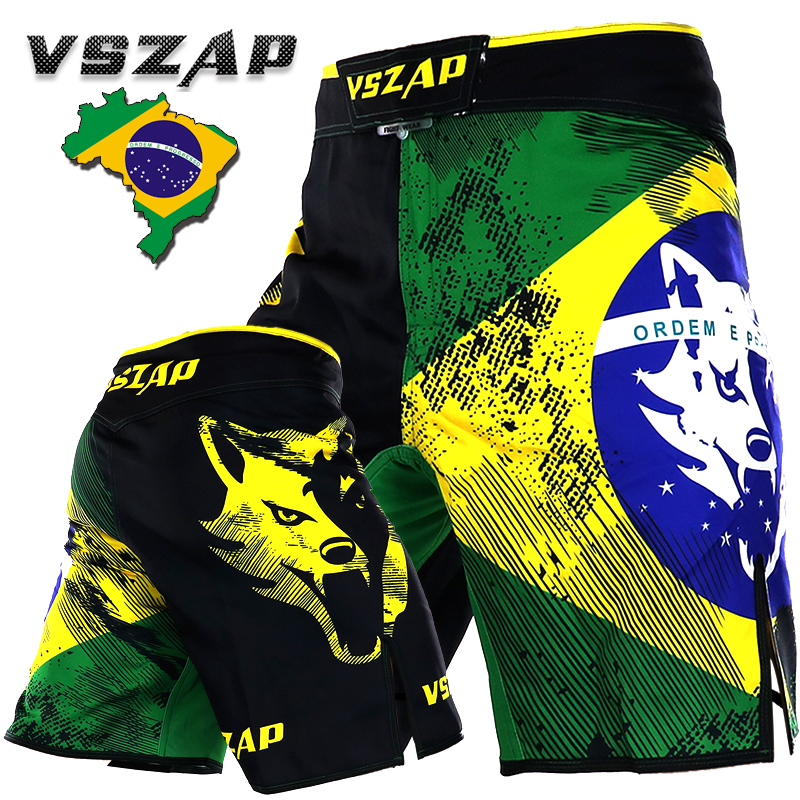 VSZAP Men's Brazil  MMA Shorts Fight Grappling Short Boxing Shorts Printing Polyester Kick Gel Muay Thai Boxing Shorts MMA Boxe