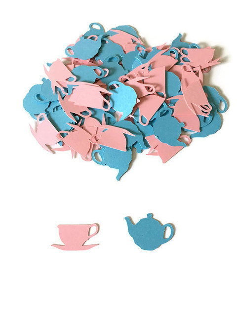 pink and blue tea party birthday confettis table scatter baby bridal shower bachelorette engagement party decorations
