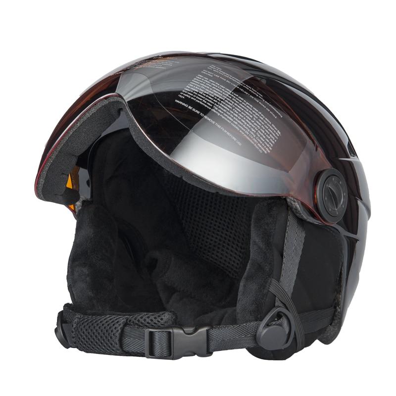 Высокое качество интегрально горнолыжный шлем с, наполовину покрыт Лыжный Спорт Шлем очки CE Спорт на открытом воздухе сноуборд шлем черный