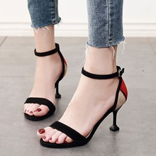 Women Sandals Plus Size Gladiator High Heels Female Ankle Strap Shoes Summer Flock Sandal Woman Cross Strap Party Shoe CH-A0057 lapolaka 2018 summer brand natural cow suwde ankle wrap women sandals high heels ethnic shoes woman fashion date party shoe