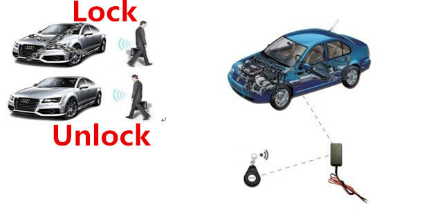 automatic lock unlock anti-theft RFID relay 2.4G wireless car motorcycle Security Burglar Alarm circuit oil pump two immobilizer