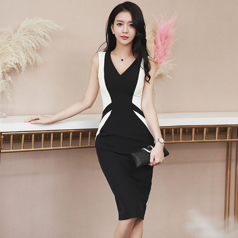Summer women wear 2018 package buttocks pencil dress temperament patchwork Cultivate one 39 s morality show thin v neck sleeveles in Dresses from Women 39 s Clothing
