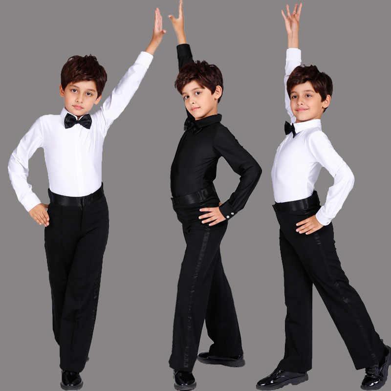 Черно-белый костюм для латинских танцев для мальчиков, блестящие спандекс, Современные бальные танго, Румба, латинские рубашки и штаны