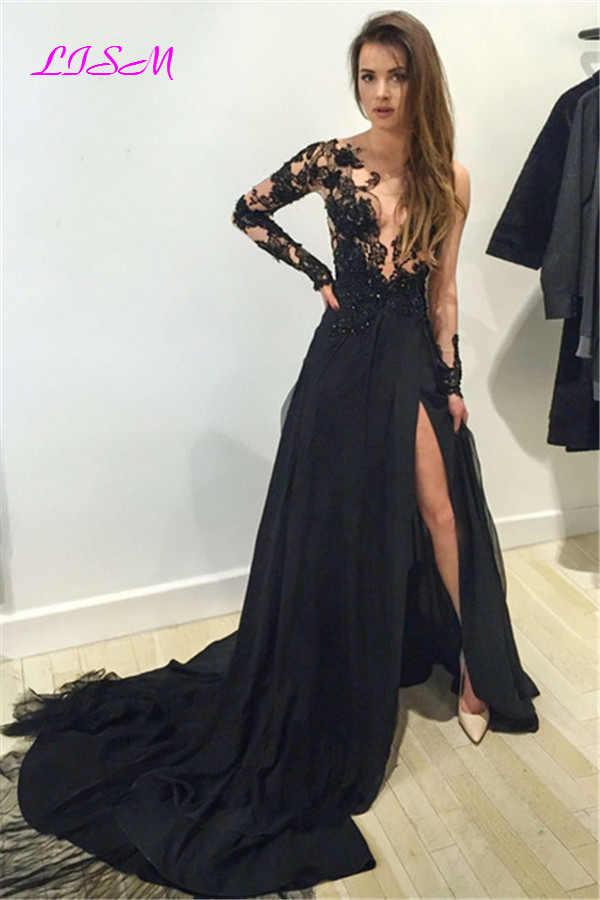 Black Sexy Side Split Tulle Prom Dresses Long Sleeves Scoop Formal Party Dress Lace Appliques Sweep Train Evening Gowns vestidos