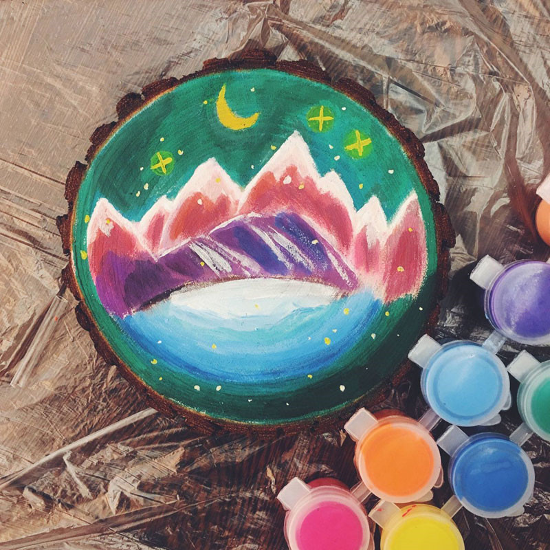 Image result for kids painting on tree round