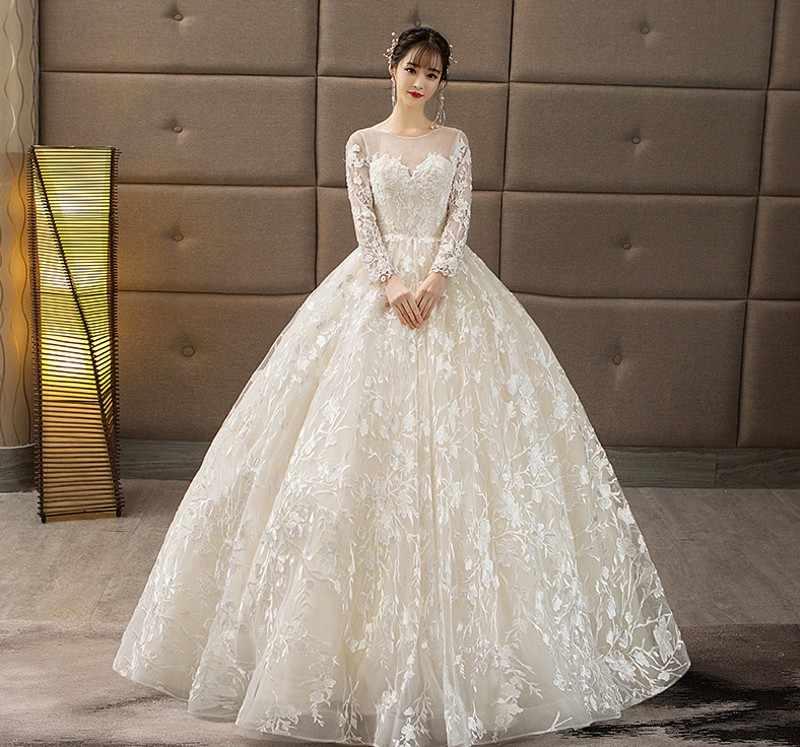 36143d82a Элегантное кружевное платье принцессы для свадебной вечеринки 2019 Белое Кружевное  Свадебное бальное платье Robe de mariée