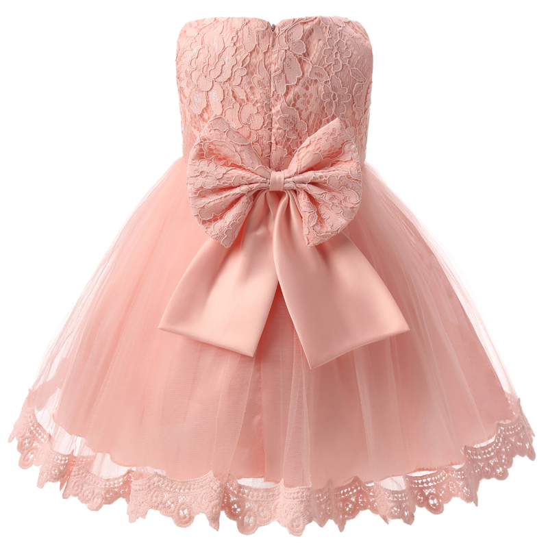Gorgeous Flower Lace Girls Dresses Children Party Ceremonies Clothing Princess Baby Girl Wedding Dress Birthday Bow Christening 2017 new girls dresses for party and wedding baby girl princess dress costume vestido children clothing black white 2t 3t 4t 5t
