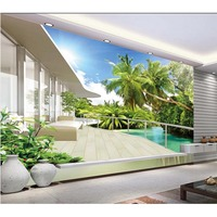Photo Wall paper Natural Landscape Living Room TV Backdrop Wallpaper 3D Coco Tree Stereo Mural Bedroom Home Decor #208