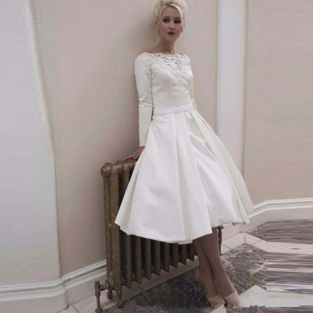 New Arrival White Satin Wedding Dresses Short Sash Full Long Sleeves ...