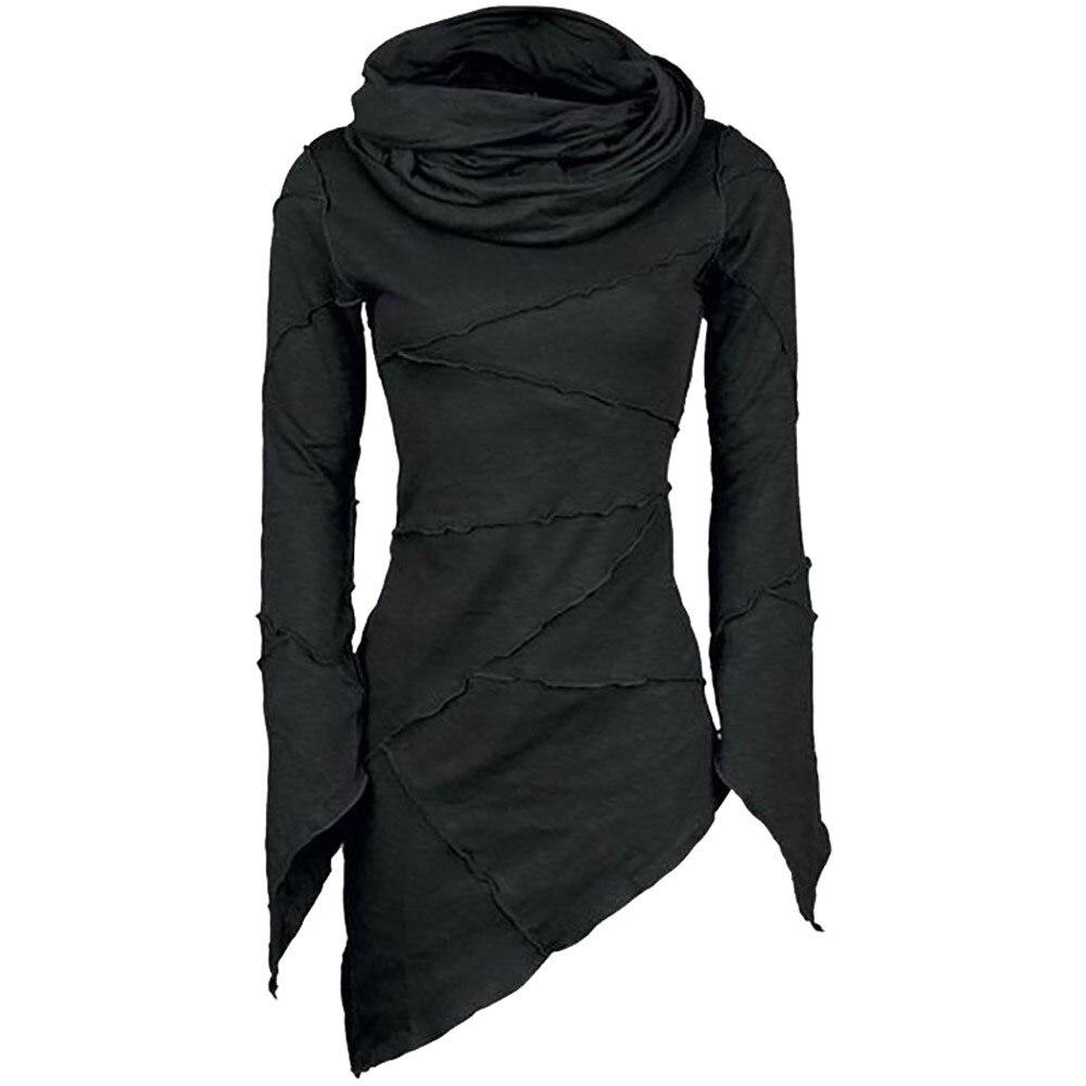 2019 Women Slim Solid Turtleneck Scarf Collar Asymmetric Sleeves Sweatershirt Hem Tops Stitching Hoodies Pile Collar Long Sleeve