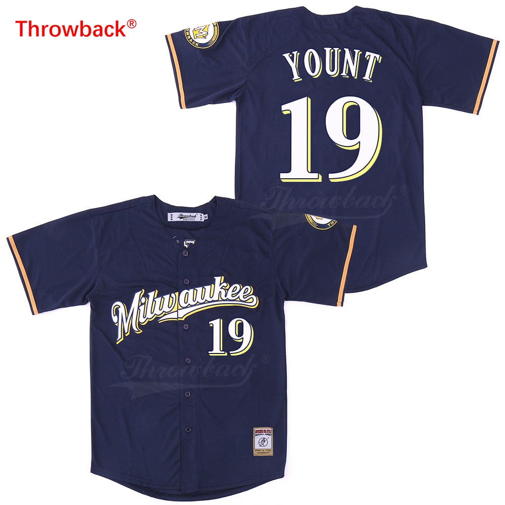 new style f8997 62ee8 Throwback Baseball Jersey Men's Milwaukee Jersey Yount Jerseys Shirt  Stiched Size S-XXXL Wholesale Fast Shipping Cheap Blue