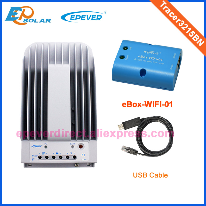 Solar Tracking regulator 30A 12V 390W panels home solar system Tracer3215BN USB cable PC connect eBOX wifi adapter Phone APP