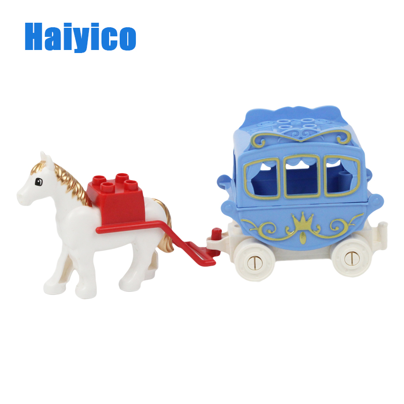 Haiyico Carriage Building Blocks Princess Compatible With Duplo Princess Horse Trailer Assemble Bricks set Educational Toys 120pcs farm building blocks diy toys early learning self locking bricks baby educational toys compatible with duplo play house
