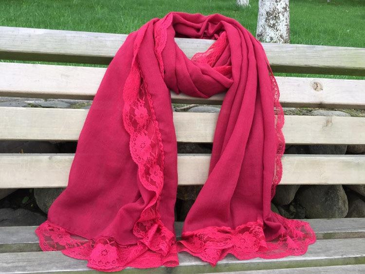 Za 2016 women Plain viscose scarf plain hijab Muslim hijab lace scarf bandana shawls and wrap