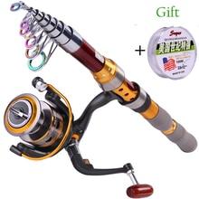 Sougayilang Fishing Rod Kit Telescopic Rod With Reel Fishing Line Long Shot Sea Saltwater Spinning Fishing Reel