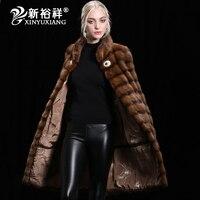 XINYUXIANG Для женщин натуральный мех норки пальто зимнее из натуральной норки Одежда 2018 толстый длинный теплый Меховая куртка Для женщин настр