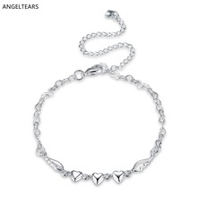 Summer hot sale silver color heart-shaped anklet fashion foot jewelry for women girl foot bracelet tornozeleira