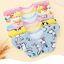 Baby Bib New Three-layer Waterproof Cotton Drool 360-degree Rotating Bib Bib Cartoon Print Saliva Towel Baby Feeding Cotton Bib стоимость