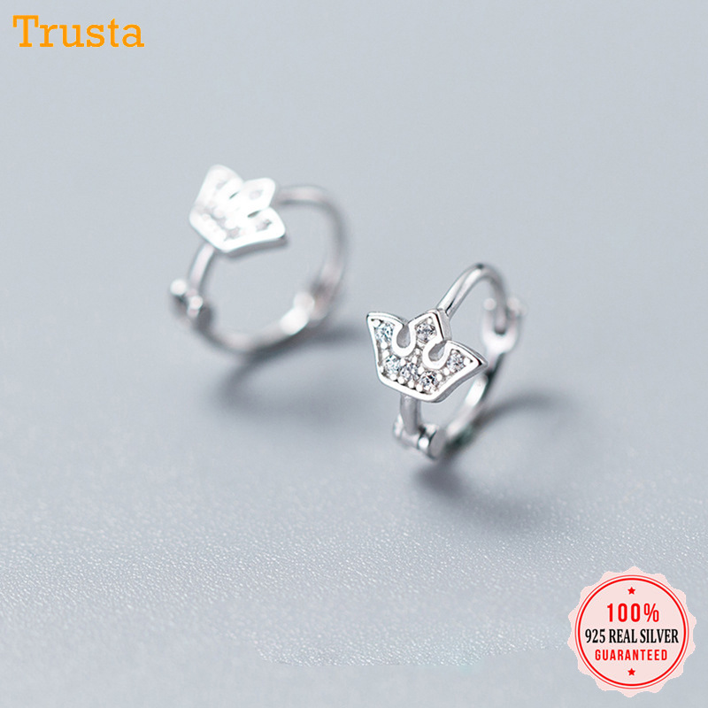 Trustdavis 100% 925 Real Sterling Silver Crown CZ Ear Cuff ...