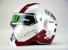 Frete grátis top abs moto motociclista capacete masei vj da onu. SPACY Homem De Ferro personalidade moda meio aberto rosto capacete de motocross